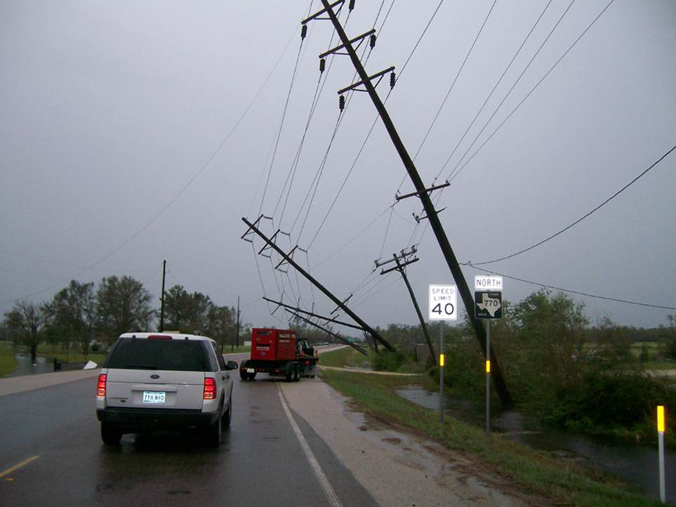 Damaged power lines during hurricane