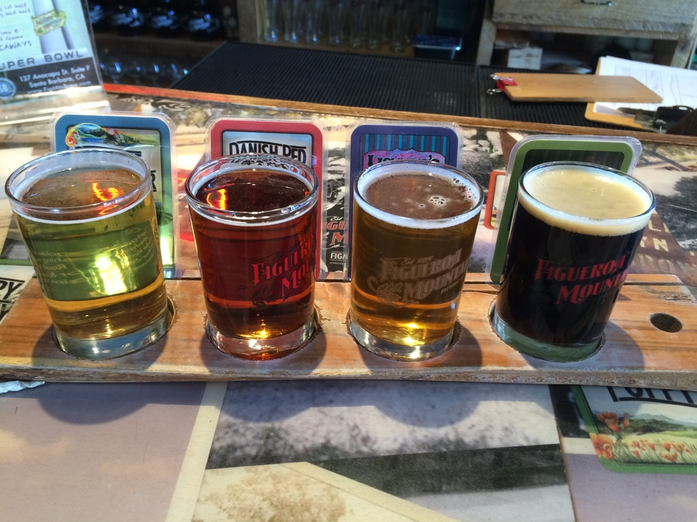 A flight of beers recommended by the bar staff at Figueroa Mountain Brewing Co in Santa Barbara, California