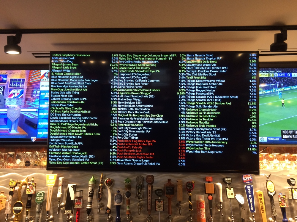 The beer menu at Frisco Tap House in Crofton, Maryland