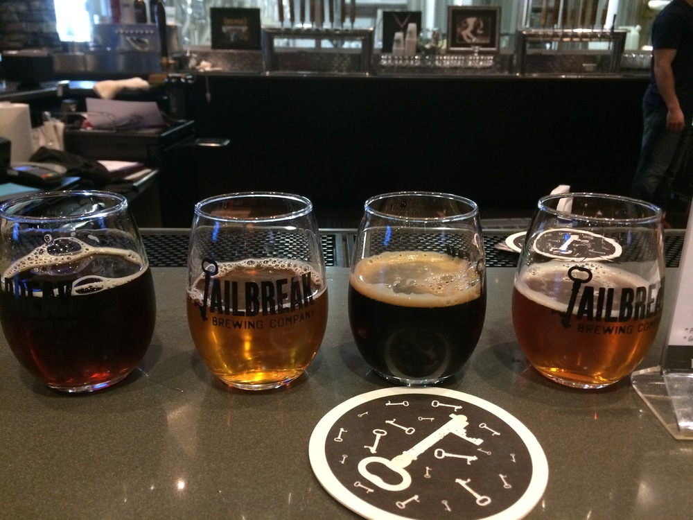 Flight of some of the Jailbreak Brewing Company brews in Laurel, Maryland
