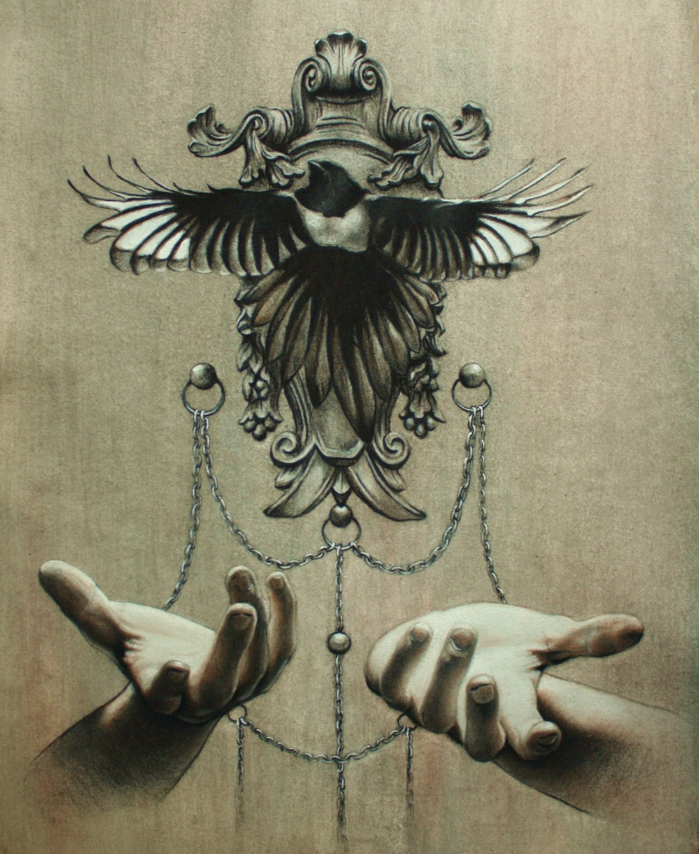 "Gilded, graphite and charcoal, 12"" x 18"", 2013"