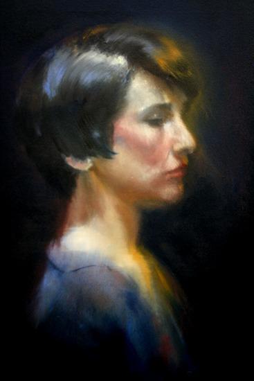 """Apathy Angel, oil on canvas, 20"""" x 12"""", 2015"""