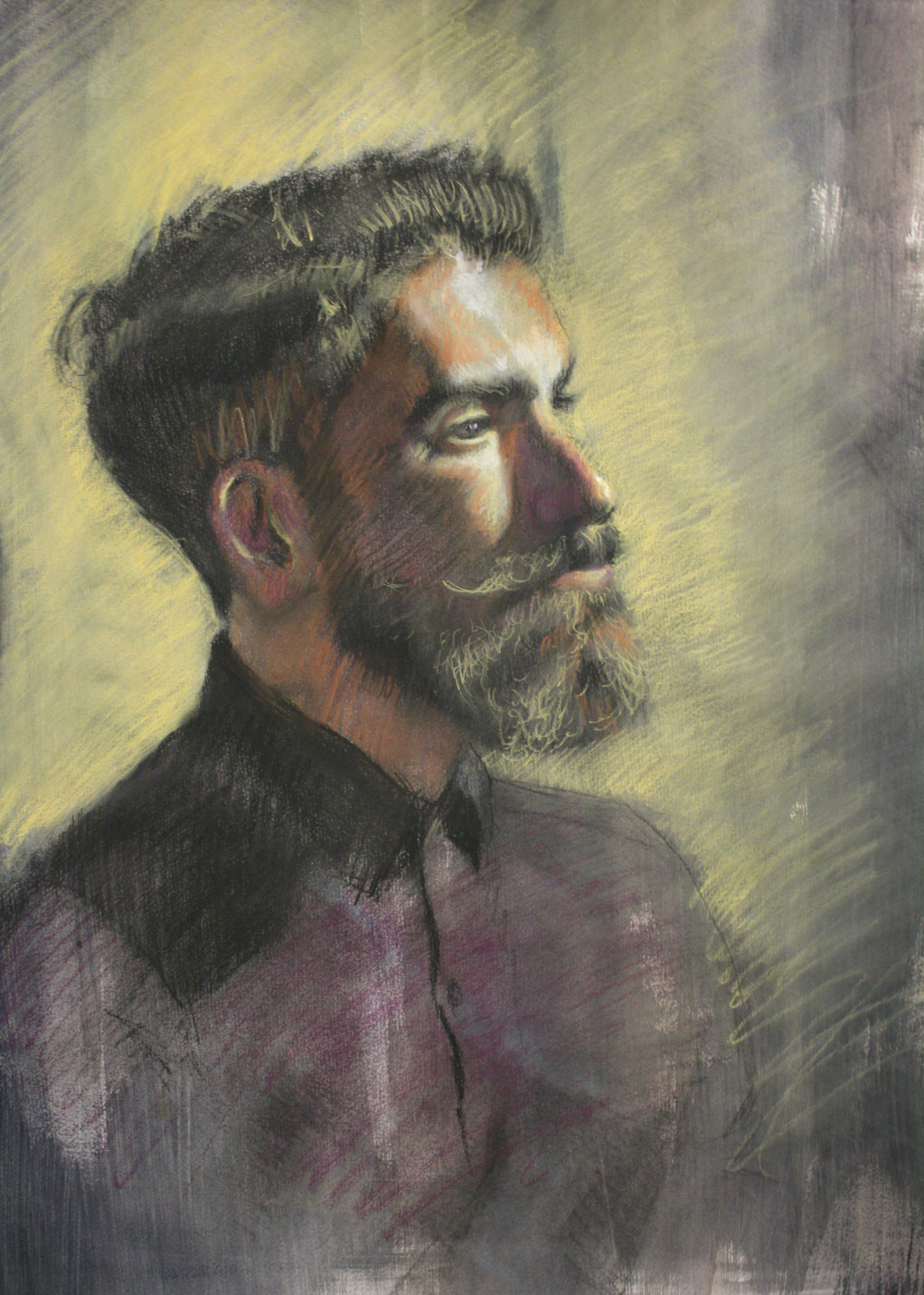 "George, chalk and charcoal, 36"" x 20"", 2015 (sold)"