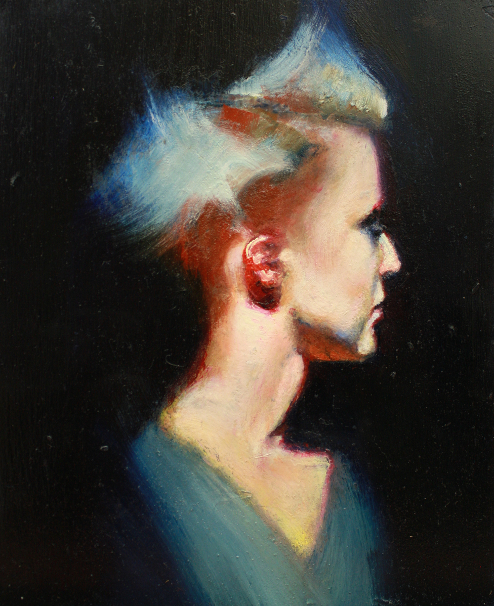 "Dayne, oil on copper panel, 8"" x 6.75"" x 3"", 2015 (sold)"