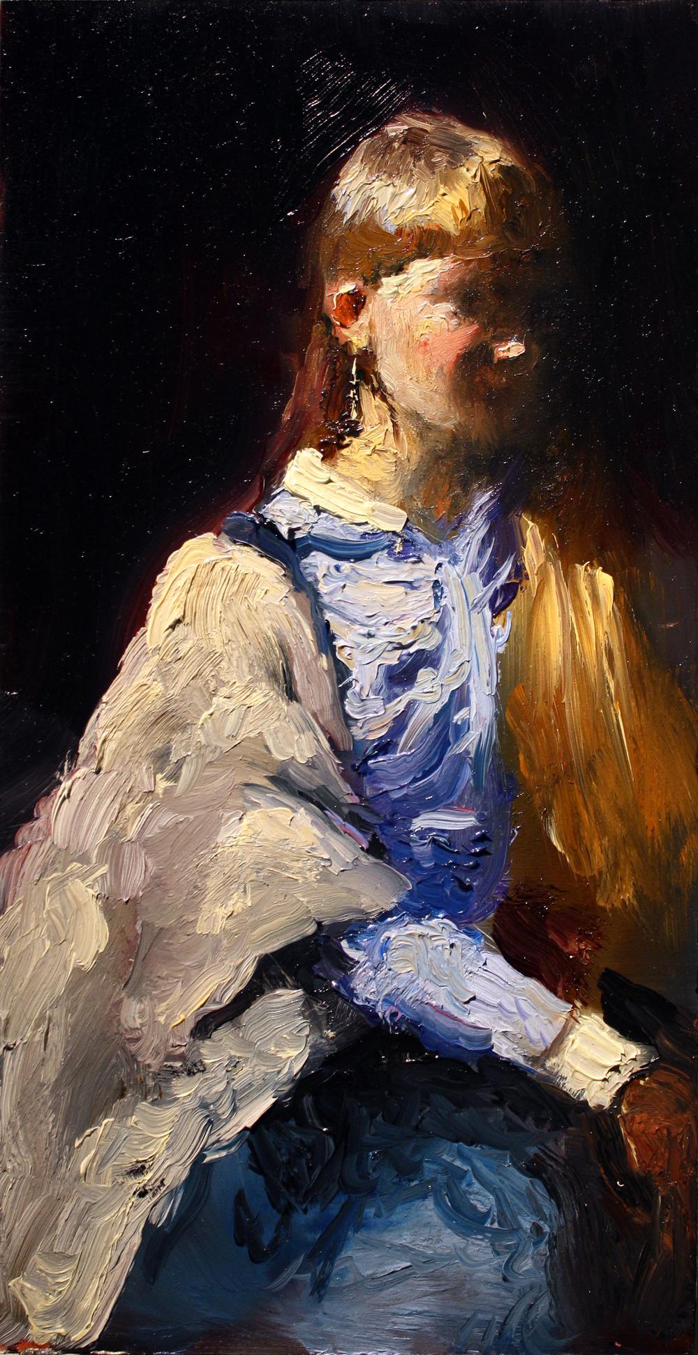"Julia, oil on wood panel, 12"" x 6"" x 1"", 2017 (sold)"