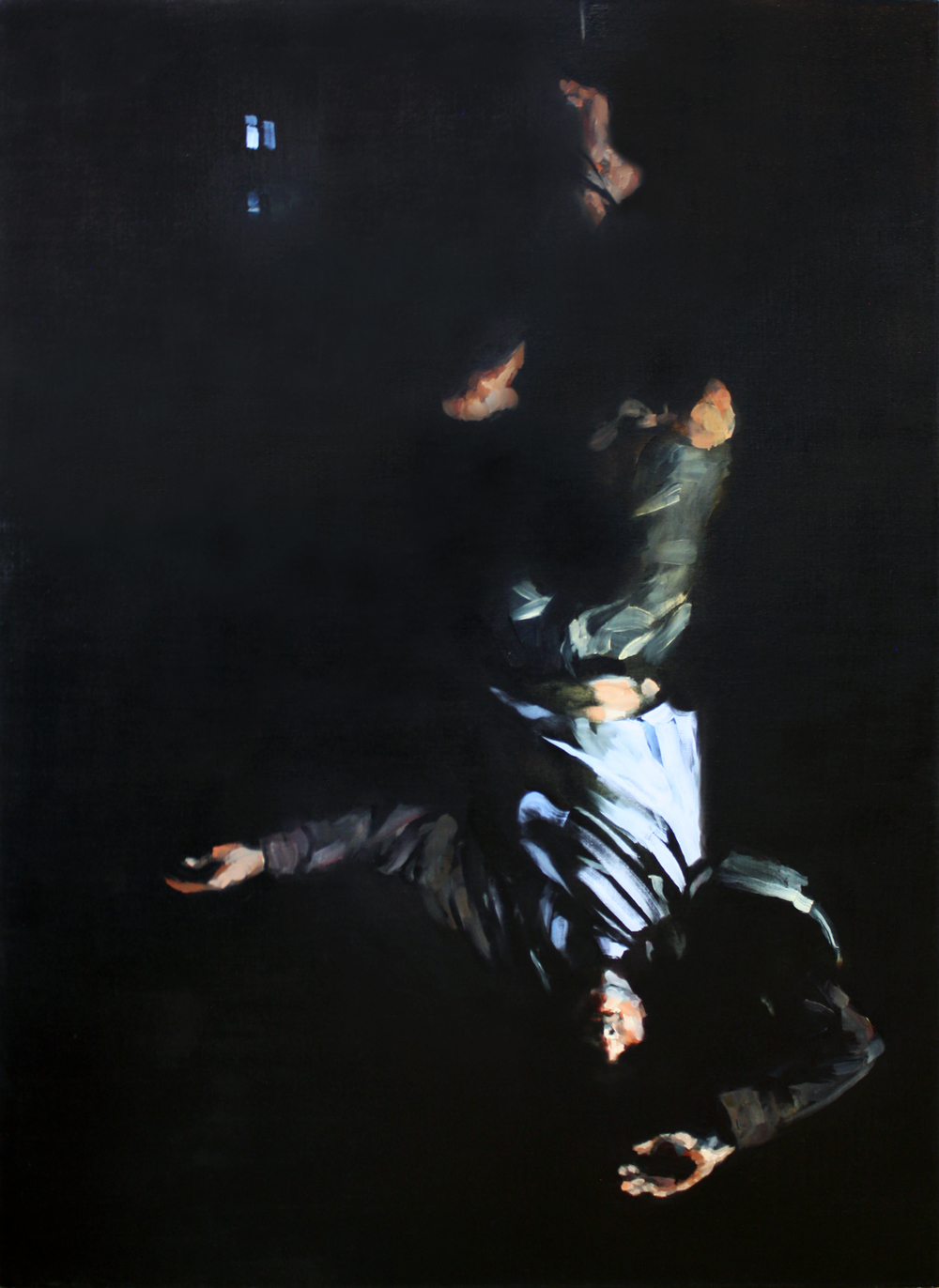"Hanged Man, oil on linen, 59"" x 43"" x 4"", 2016 (sold)"