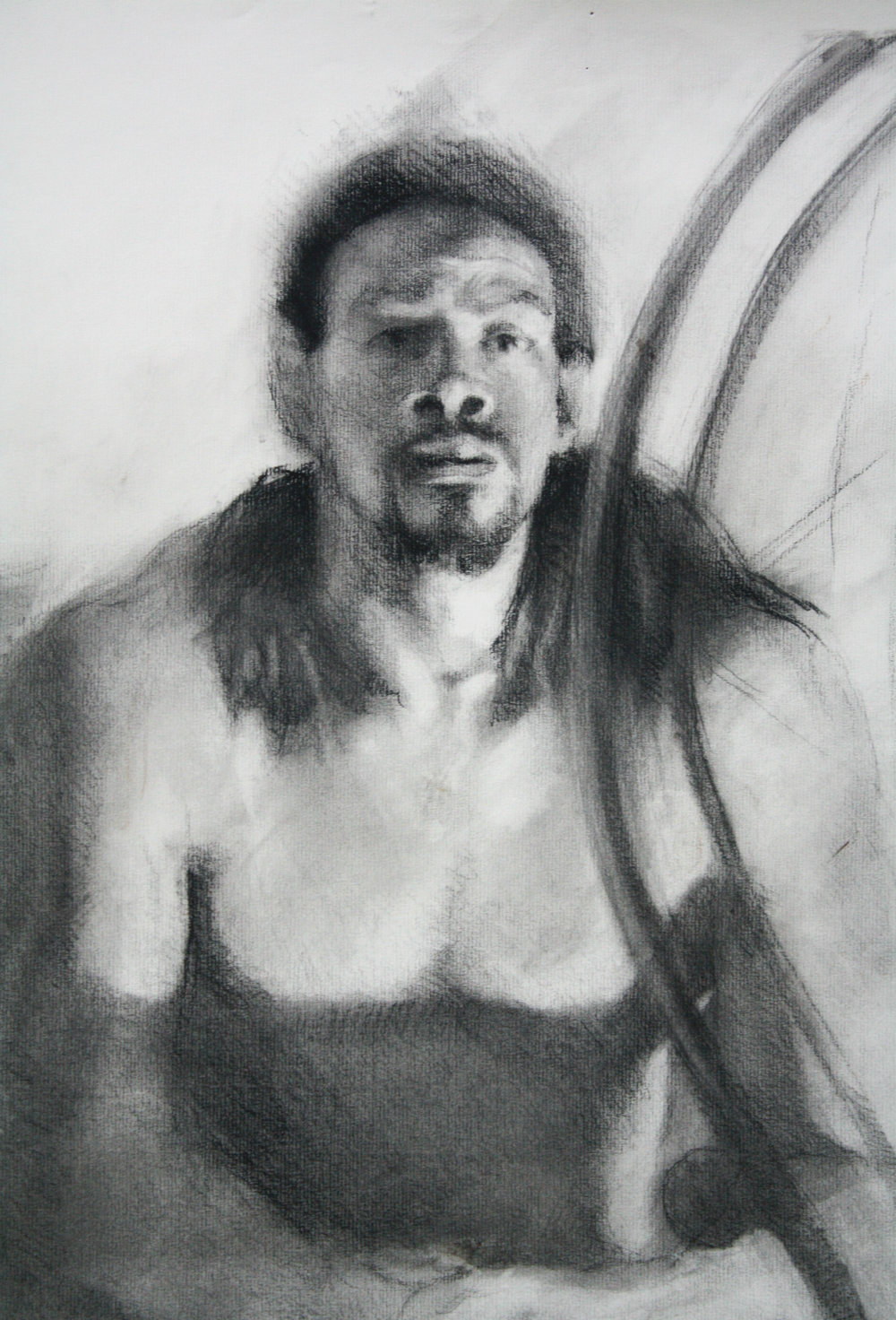 "Kevin 2, charcoal on paper, 24""x18"", 2016"