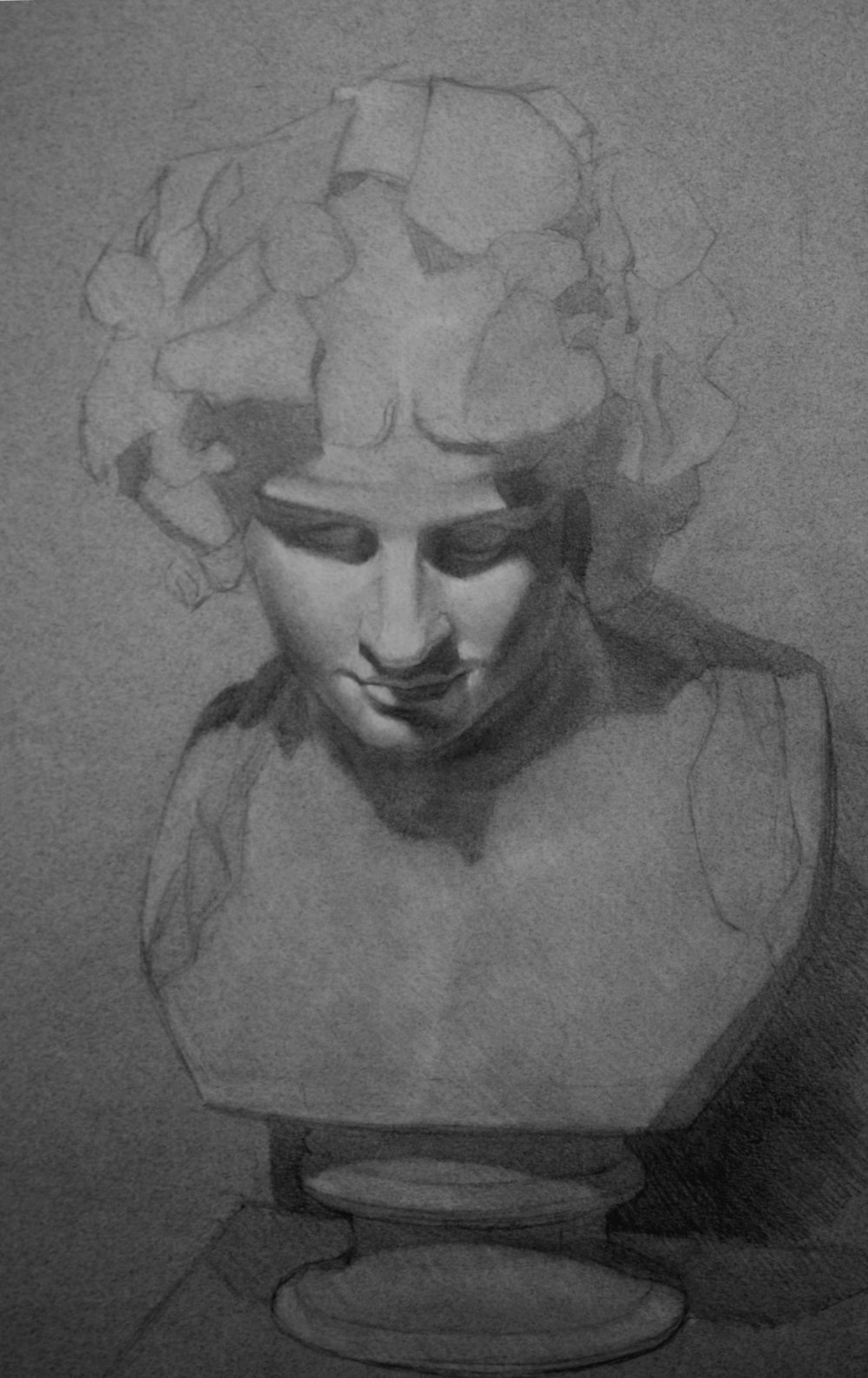 "Bacchus, graphite and charcoal, 24"" x 18"", 2015"