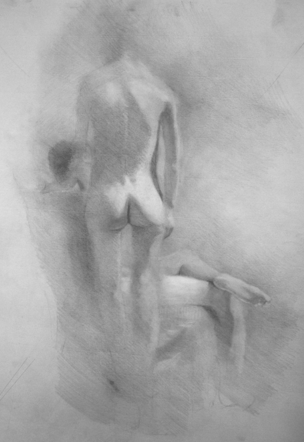 "Figure Composition, 20""x18"", graphite on paper, 2016"