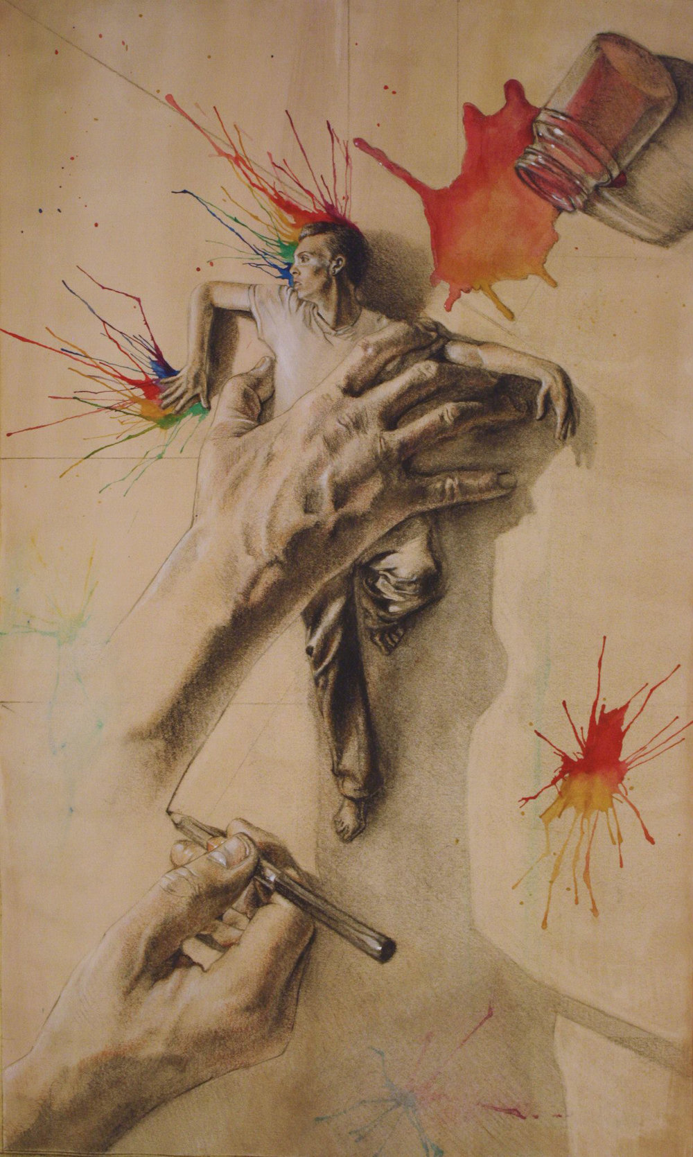 "Control is an Illusion, graphite charcoal and white pastel on paper toned with water color, 19""x11"", 2013 (sold)"