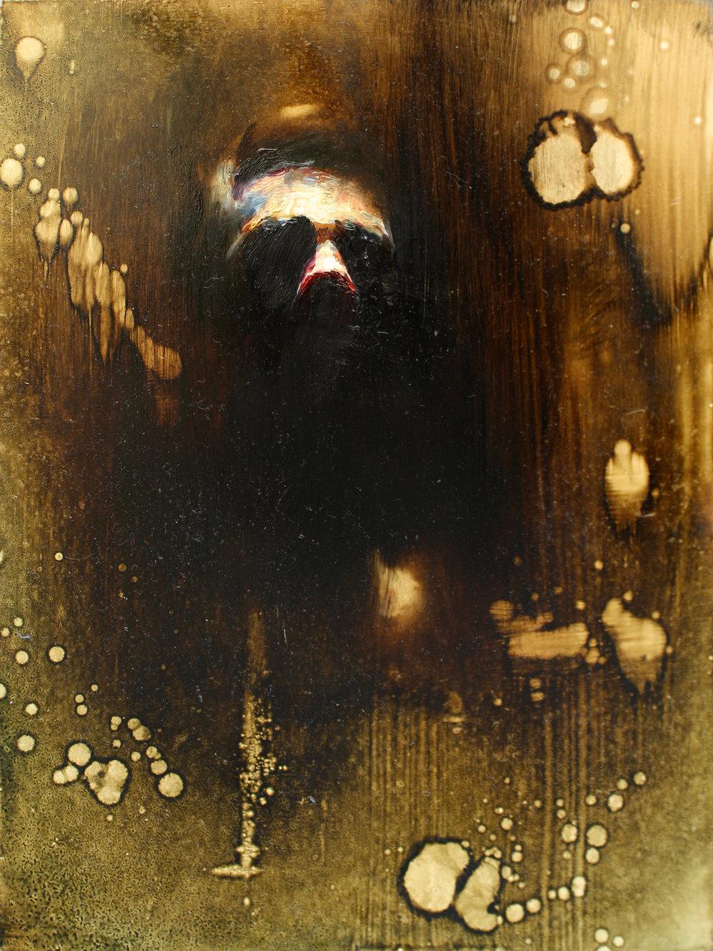 """Self Portrait, oil on wood panel, 16""""x10"""", 2016"""
