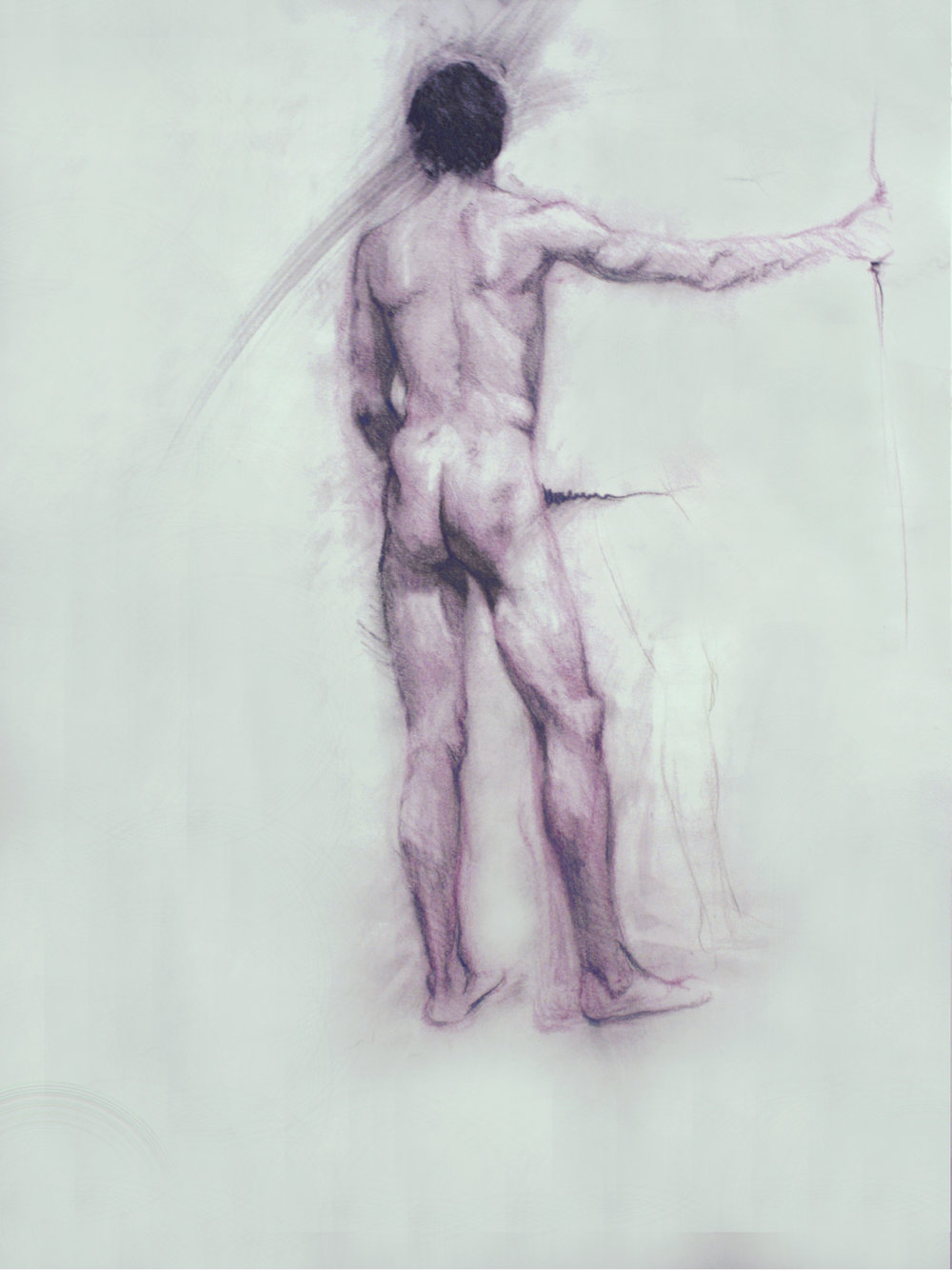 "Male Nude, graphite charcoal and colored conté crayon on paper, 24""x18"", 2015 (sold)"