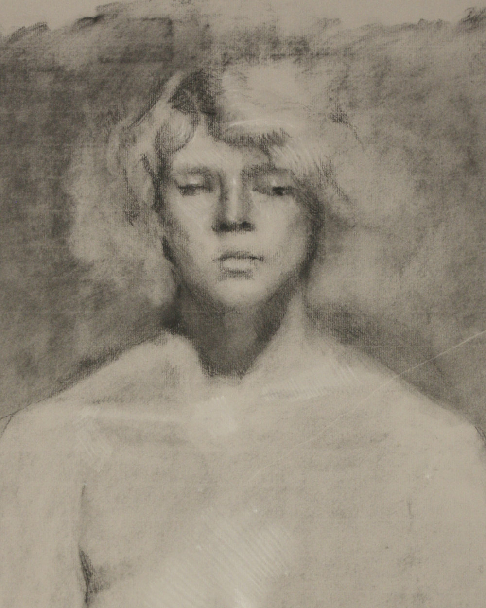 "Portrait Study, graphite, white chalk, and charcoal on paper, 24"" x 18"", 2016"