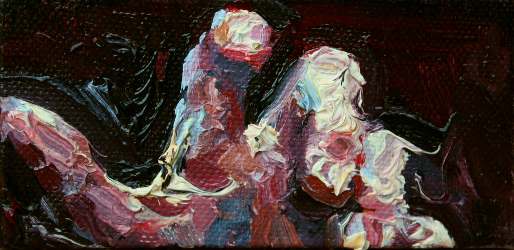 """Touch, 2""""x4"""", oil on canvas, study for outdoor installation grant awarded by Crested Butte Creative District, 2018"""
