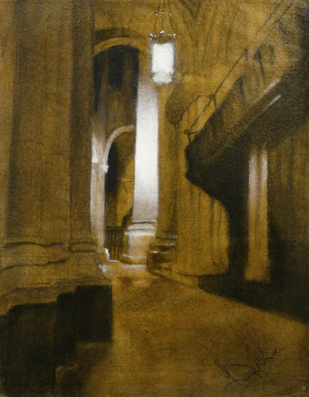 """Cathedral of Saint John the Divine, graphite and charcoal on paper shellacked over with oil paint accents mounted on wood, 14""""x11""""x1"""", 2014 (sold)"""