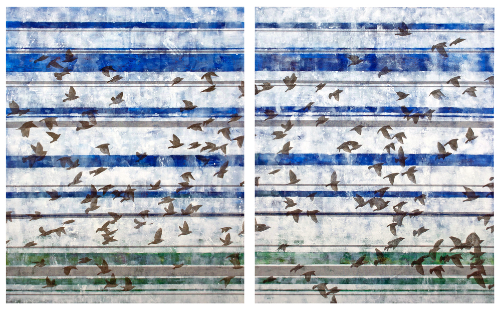 Murmuration  mixed media on wood panel 48 x 72 in. diptych