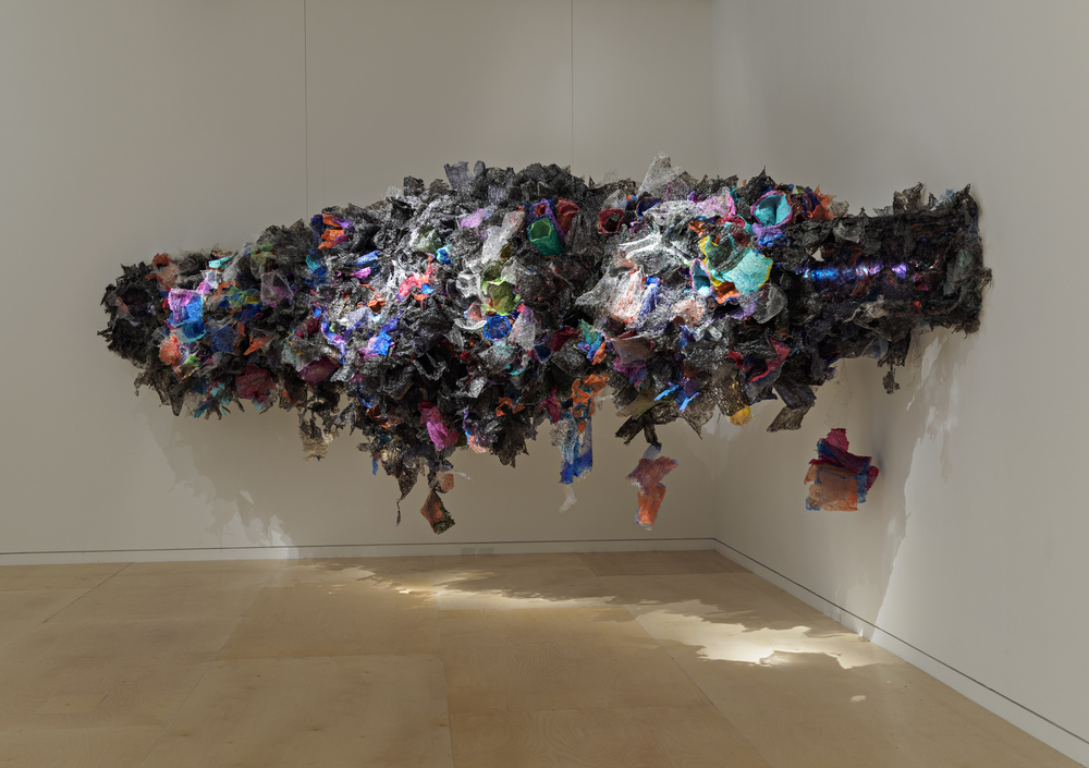 Untitled  (2016) Aditi Joshi; Mumbai, India Fused plastic bags, acrylic paint, LED lighting, and wooden armature Image Courtesy of MFA Boston
