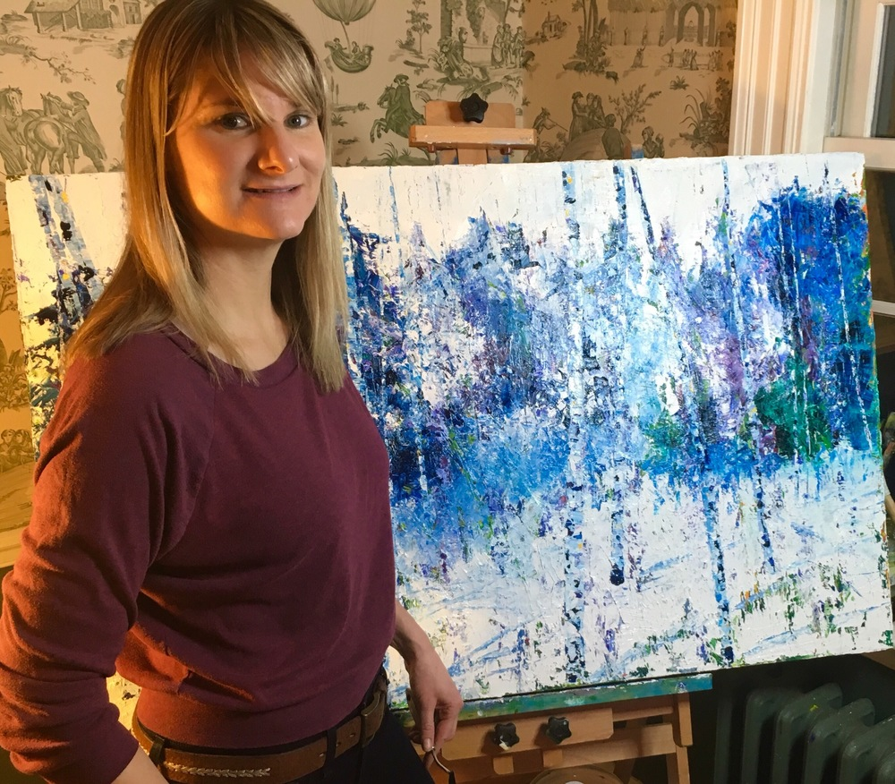 Julia Powell in studio working on  Birch  series