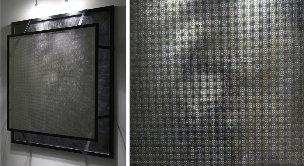 <b>Diffraction</b><br>Mixed media on paper and acetate with aluminum screen<br>55 x 44 x 7.5 in.