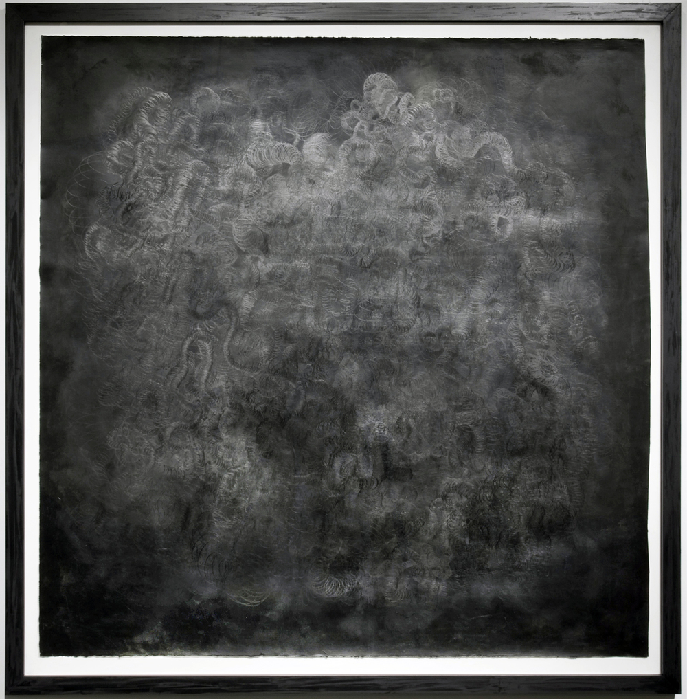 <b>Spatial Apperception</b><br>Shoe polish, paint, graphite on paper<br>61 x 60 in.