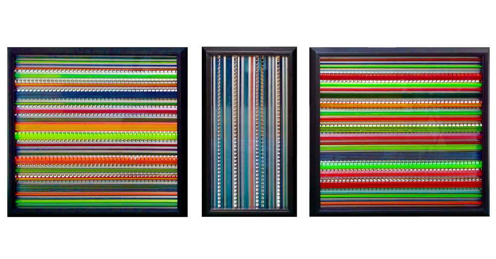 <b>Refractions of Spectral Line</b><br>Wood, plexi, and light louver<br>(1)  24 x 24 x 3.75 in.<br>(2) 24 x 12 x 3.75 in.<br>(3) 24 x 24 x 3.75 in.