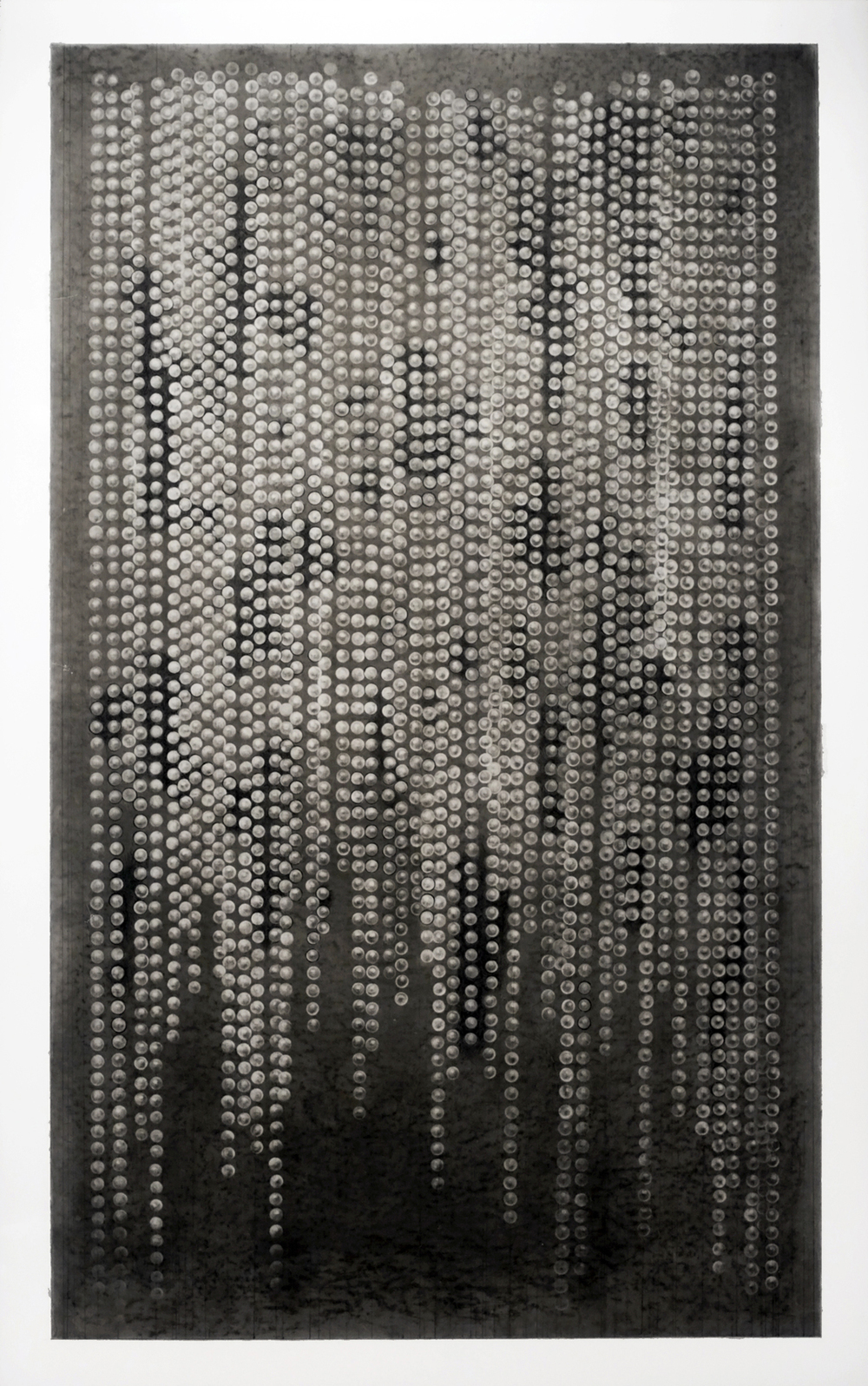 <b>Stringless beads</b><br>Graphite, charcoal, and eraser on mylar<br>40 x 25 in.