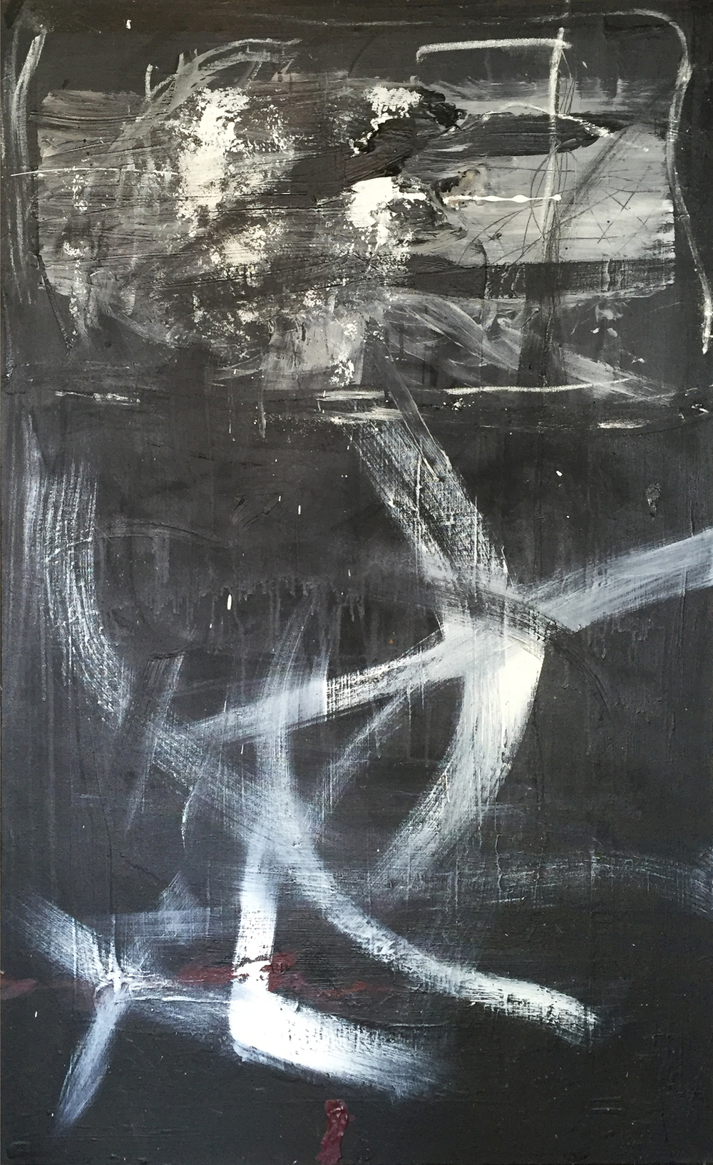 Hollow Through My Core  (2015) Acrylic and charcoal on canvas 48 × 30 in