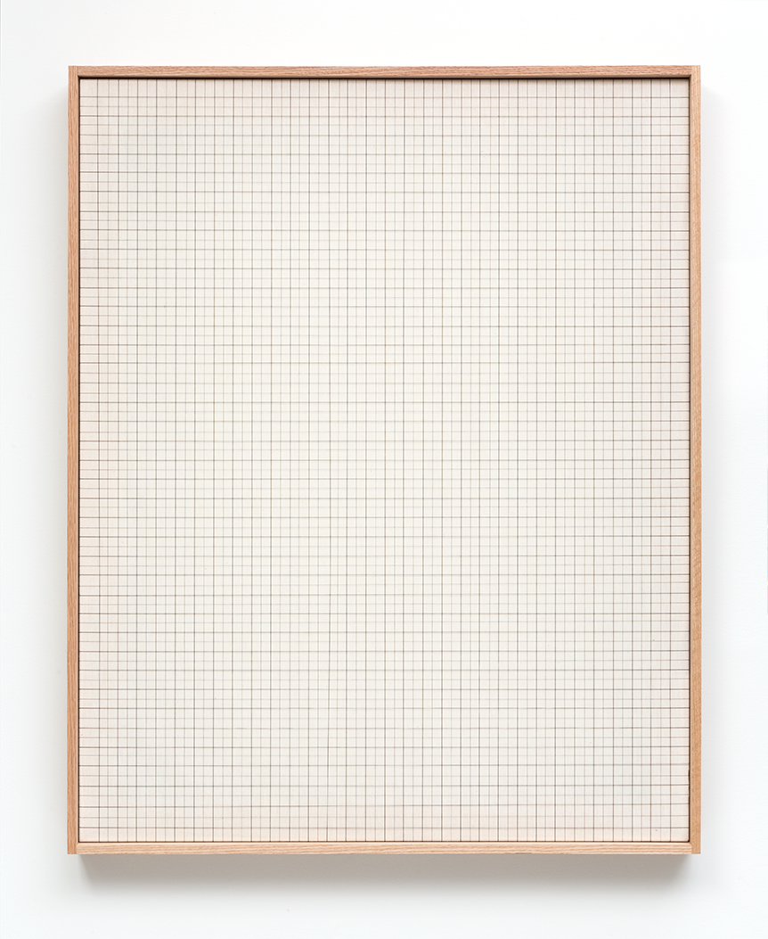<b>Black Graph</b><br>Cotton Thread on Natural Muslin with Red Oak Frame<br>40 x 32 in.