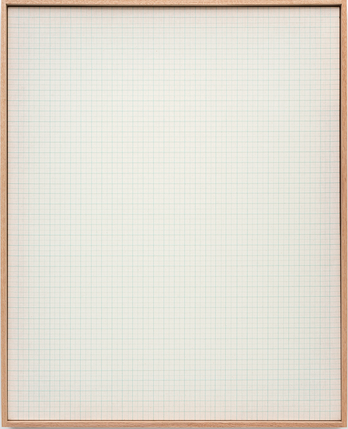 Nicole Patel   Aqua Graph , 2016.  Cotton Thread on Natural Muslin with Red Oak Frame.   Edition 1 of 10.   40 x 32 in.
