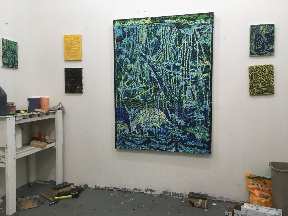 Keenan Derby's studio in Los Angeles, CA Large painting: Wave Maker (2016