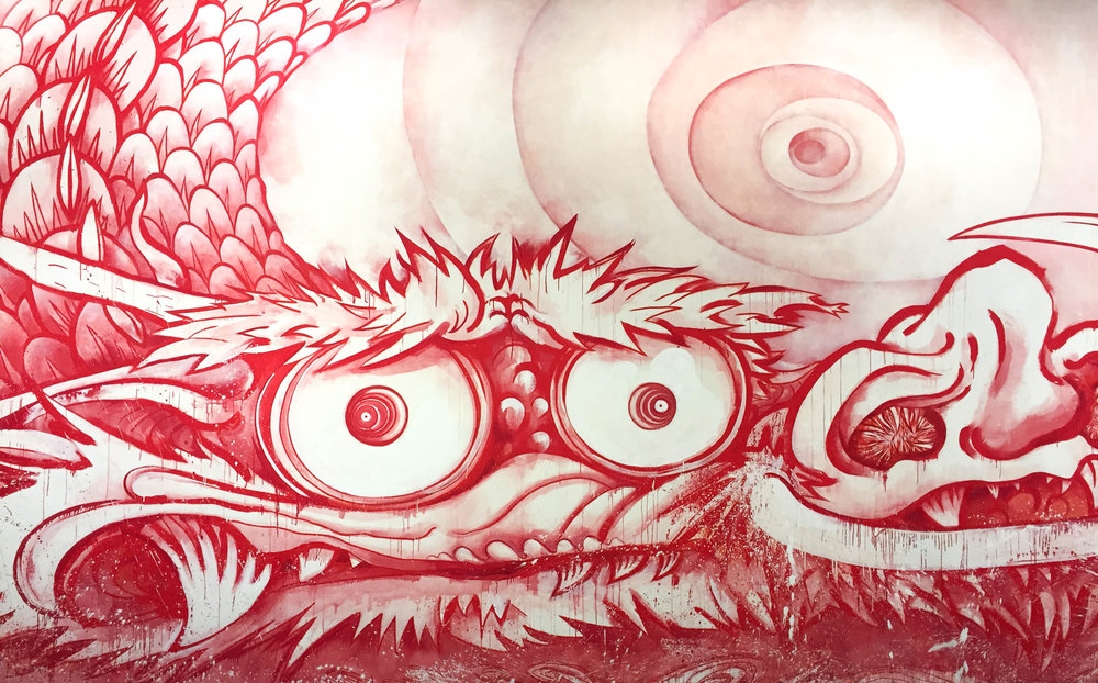 Detail of: Takashi Murakami,  Dragon in Clouds — Red Mutation,  2010
