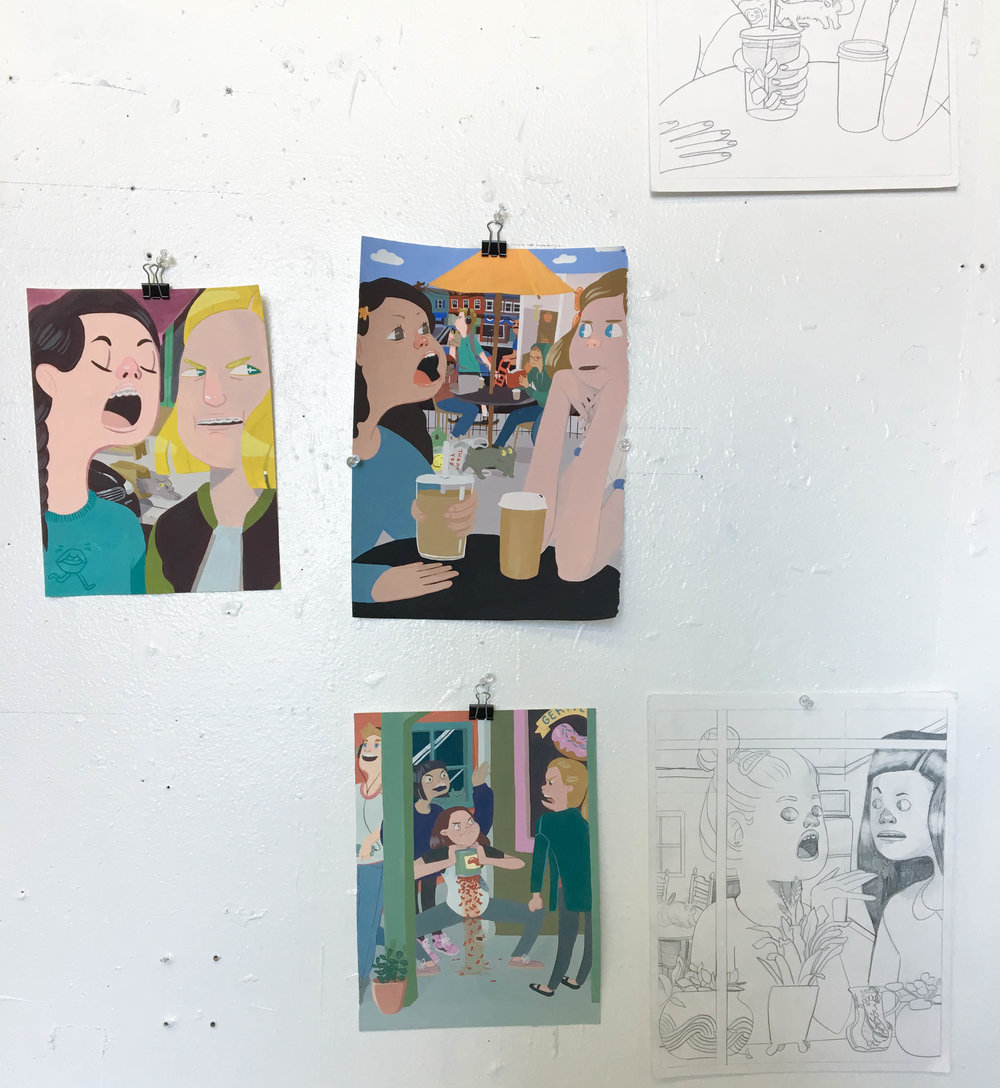 Gouaches and drawings hanging in Nunley's studio.