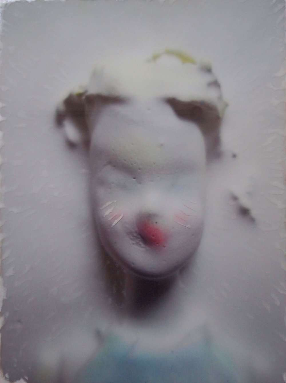 <b>annemarie (lost)</b><br>original photo back printed onto glass, spray paint, acrylic medium<br>29 x 22 in.