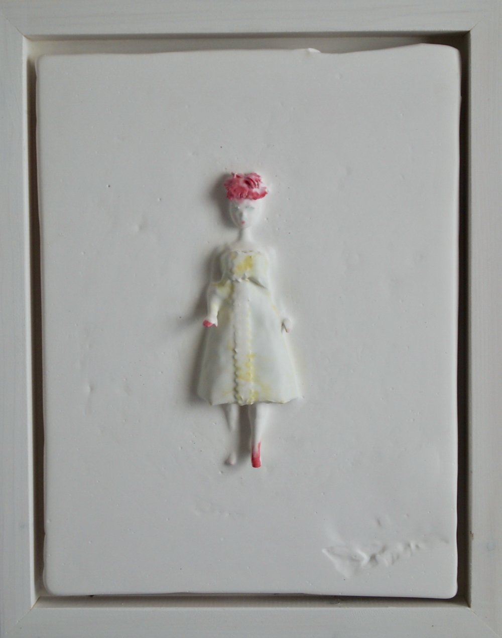 <b>lucy</b><br>plaster, found object, inks<br>11 x 9 in.