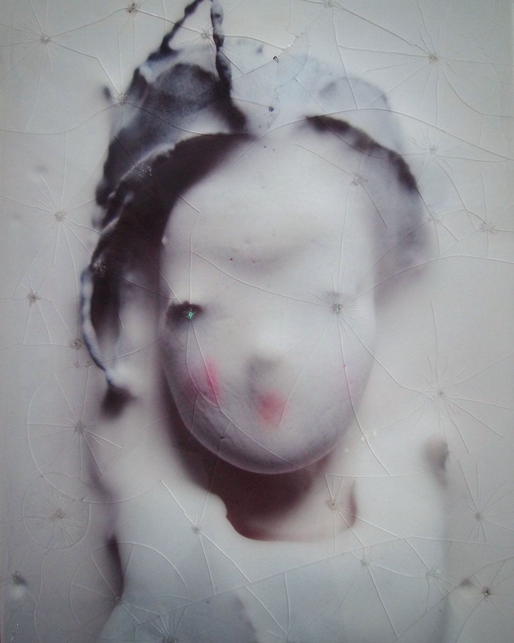 <b>marnie (glass chrysanthemum)</b><br>original photo back printed onto glass, spray paint, acrylic medium <br>29 x 22 in.