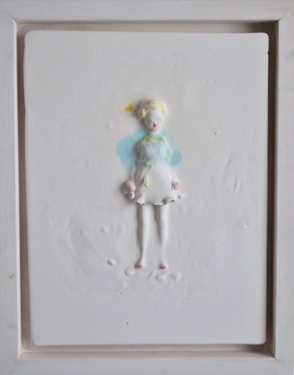 <b>samantha</b><br>plaster, found object, inks<br>11 x 9 in.