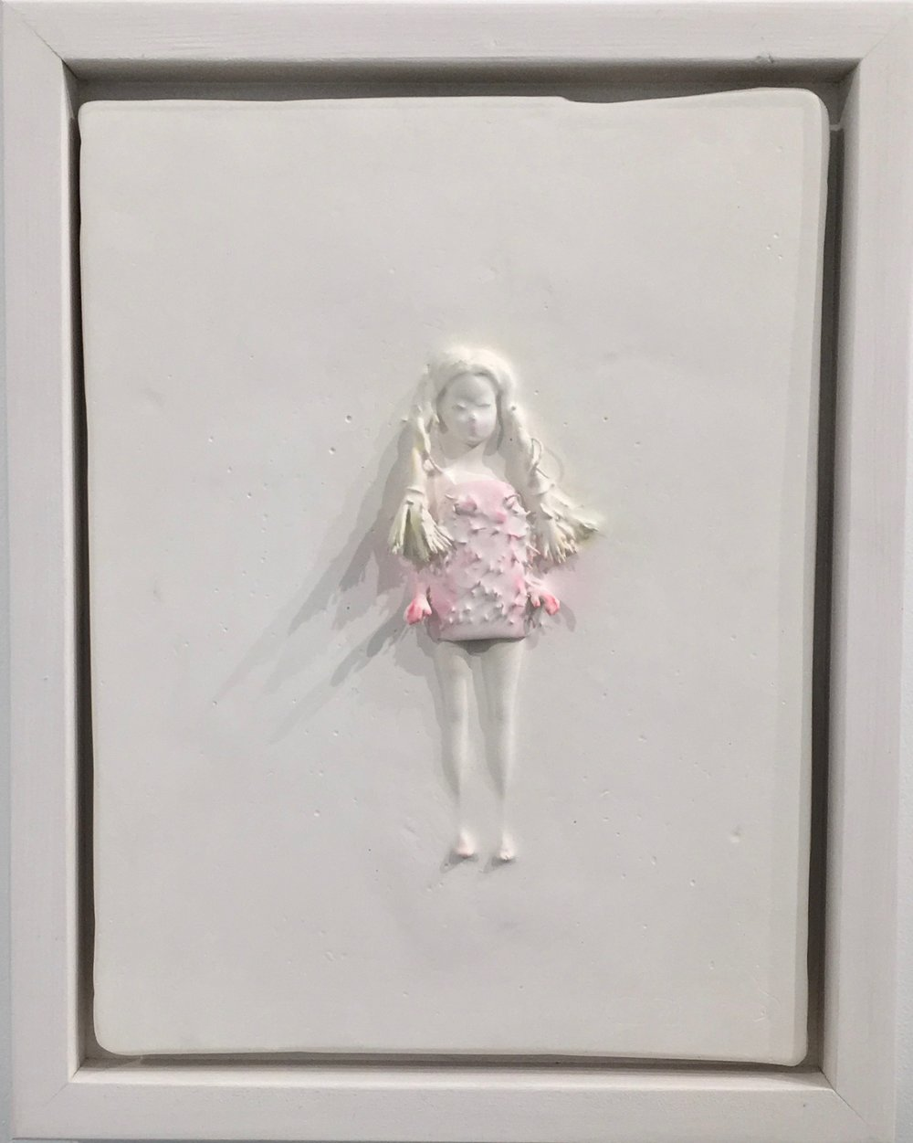 marcy, 11 x 9 in.plaster, found object, inks