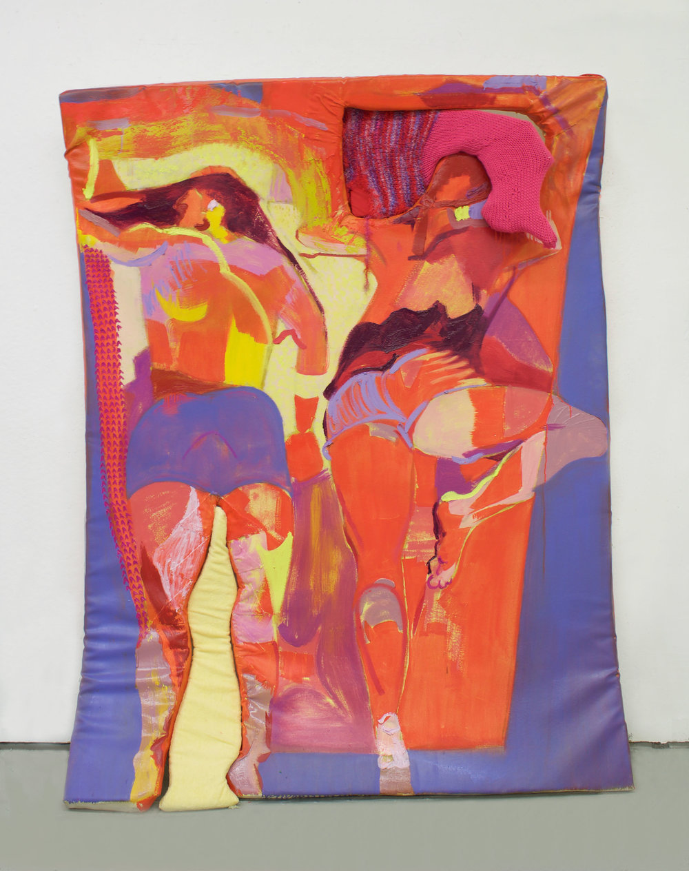 <b>Towel Tight Between Your Red Hot Thighs</b><br>Oil on canvas, wrapped upholstery foam with knit fabric wrapped upholstery foam inserts<br>6 ft x 4.5 ft x 8 in