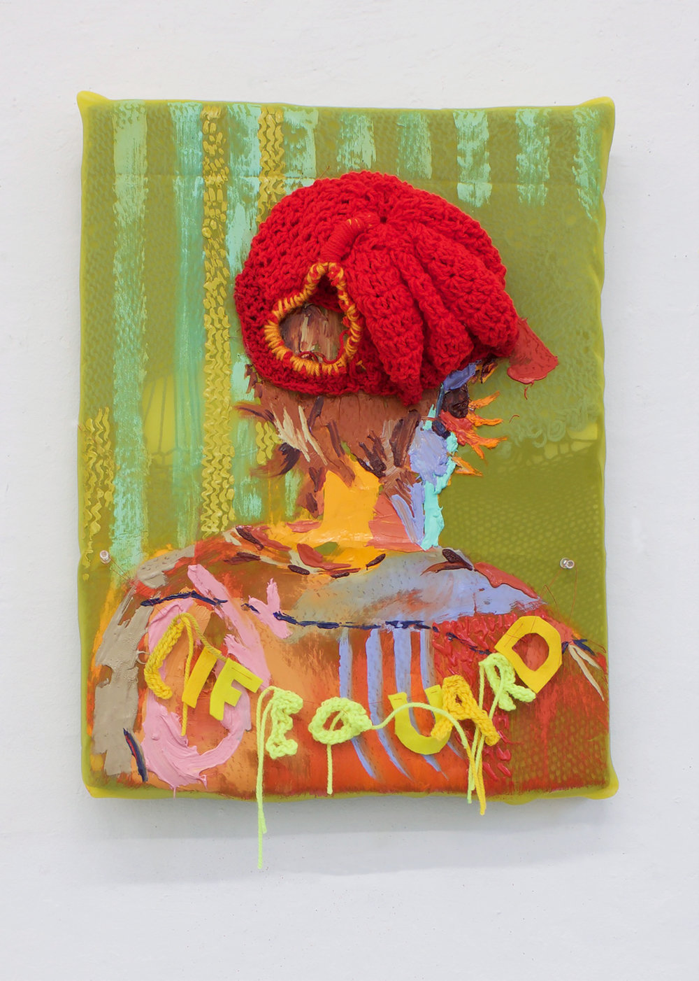 <b>No running, boisterous or rough play in the pool area</b><br>Oil on fabric and knit wrapped upholstery foam, yarn, string, push pins<br>22 in x 17 in x 6 in