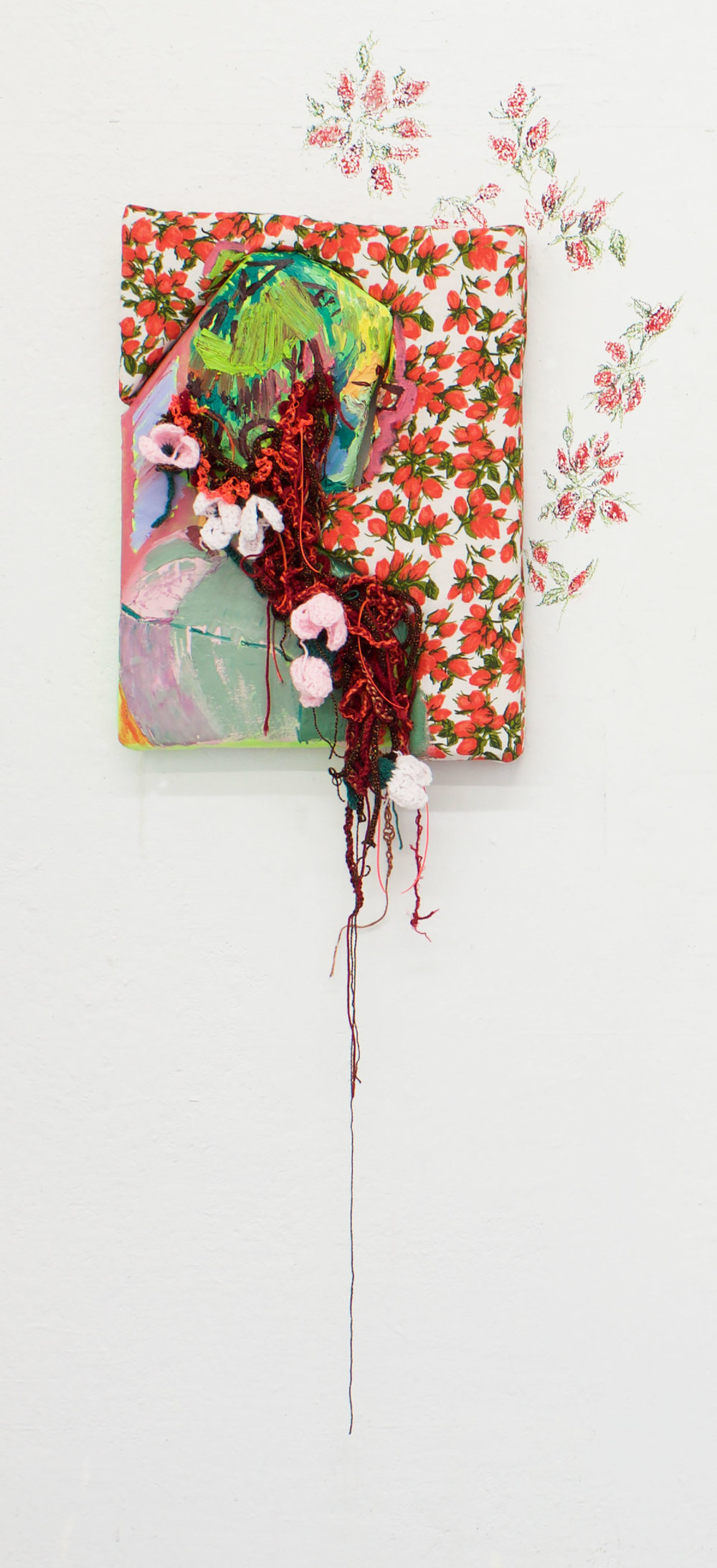 <b>If they were orchids in your hair, would that be too explicit</b><br>Oil on canvas and fabric wrapped upholstery foam, yarn, plastic cording, wall , oil pastel<br>50 in x 17 in x 6 in