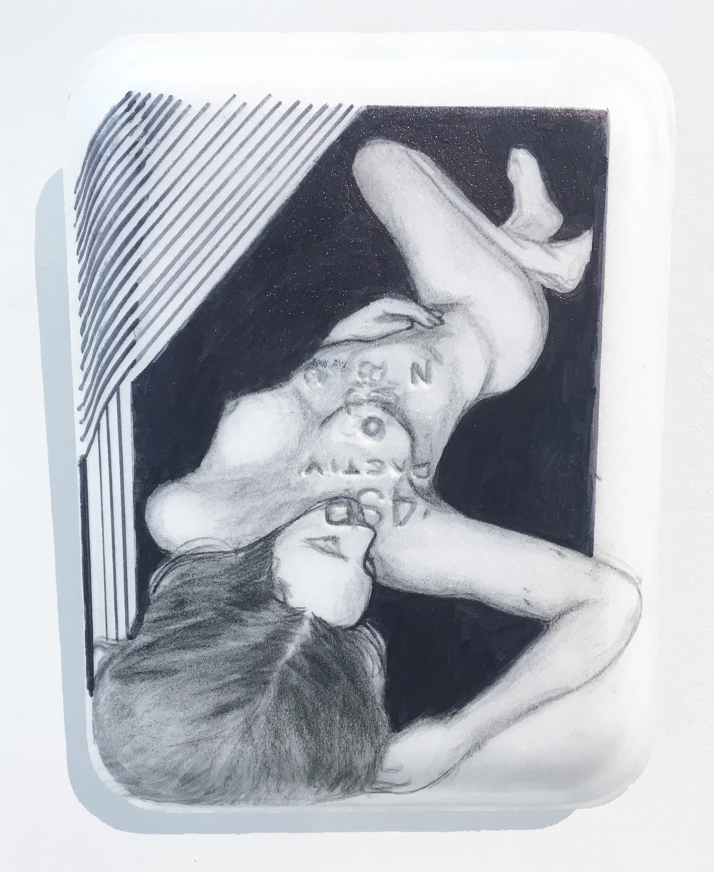 <b>Untitled 2</b><br>Sharpie, gesso, graphite and acrylic on Styrofoam meat tray<br>10.5 x 8 in.