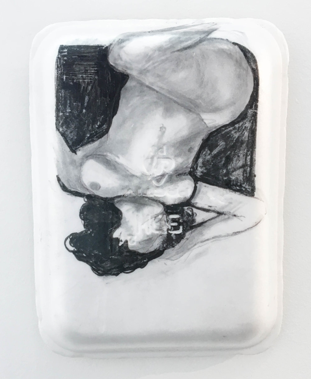 <b>Untitled 3</b><br>Sharpie, gesso, graphite and acrylic on Styrofoam meat tray<br>10.5 x 8 in.
