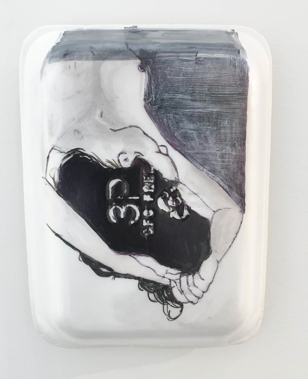 <b>Untitled 4</b><br>Sharpie, gesso, graphite and acrylic on Styrofoam meat tray<br>10.5 x 8 in.