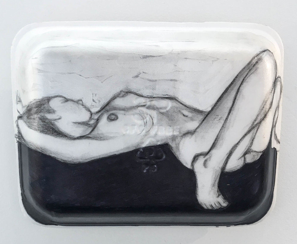 <b>Untitled 5</b><br>Sharpie, gesso, graphite and acrylic on Styrofoam meat tray<br>10.5 x 8 in.