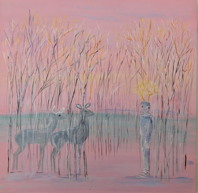 <b>Eustace and the Deer II</b><br>Acrylic on panel<br>10 x 10 in.