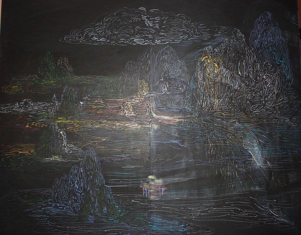 <b>Twelve Twelve</b><br>Oil, Ink, Black Gesso on Panel<br>22 x 28 in.