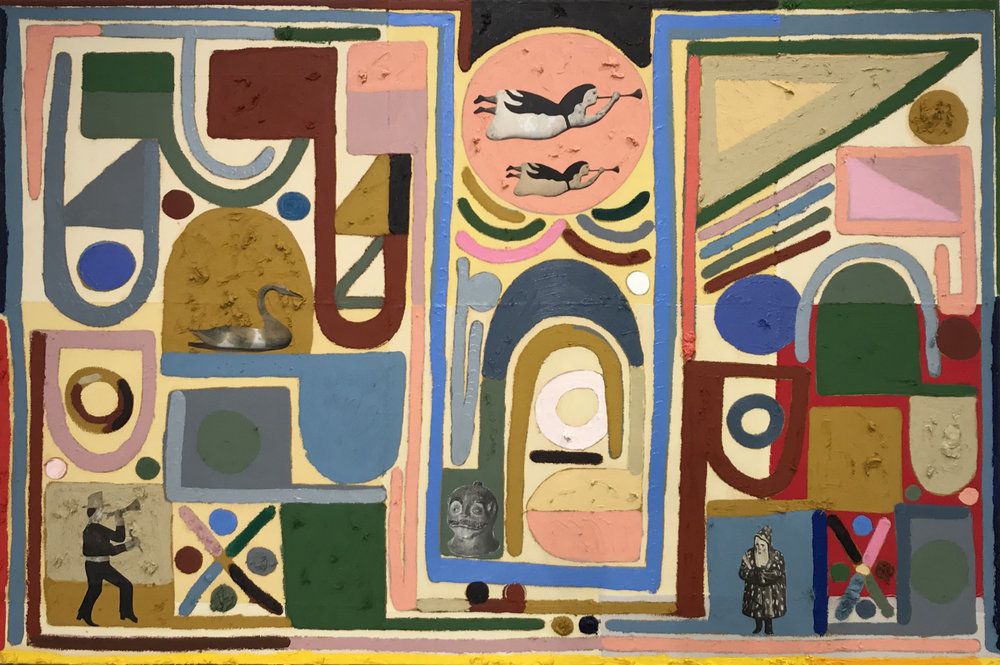 "Austin Eddy, ""Flying-Fingers, City-Face (Between Here and There),""   Oil stick, paper collage on fabric collage on canvas, 40 x 60 in."