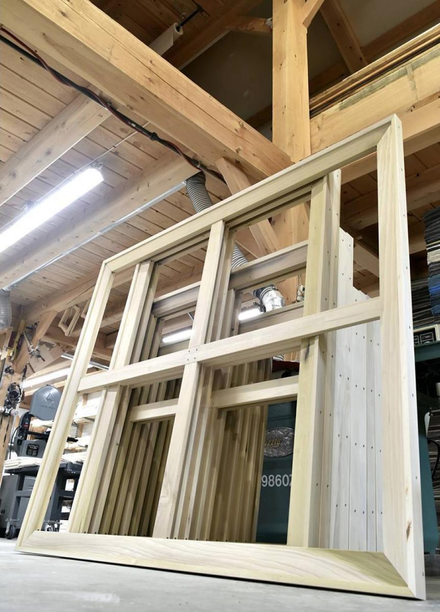 Custom stretcher bars built in Joshua Doub's workshop. Photo courtesy of  DoubWorks Instagram