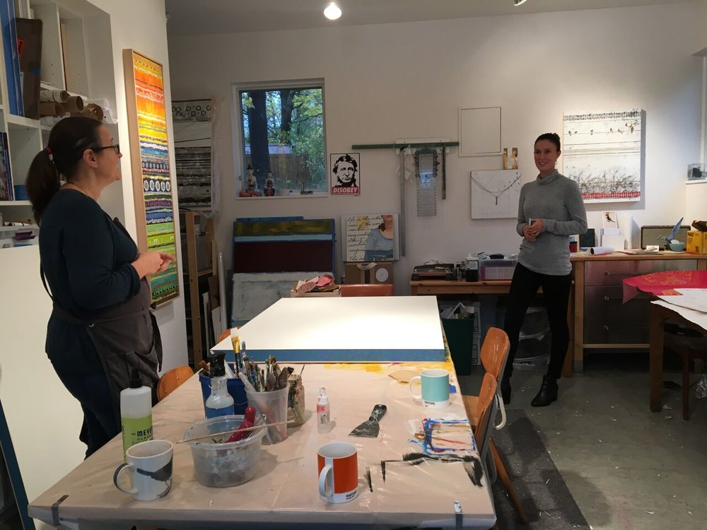 Studio visit with Holly Harrison (left) and Abigail Ogilvy (right). Concord, MA.