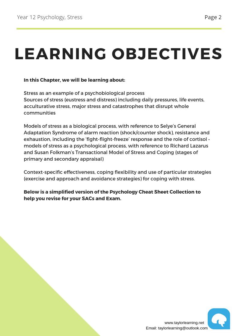 Comprehensive Psychology Notes Stress Taylor Learning I Melbourne